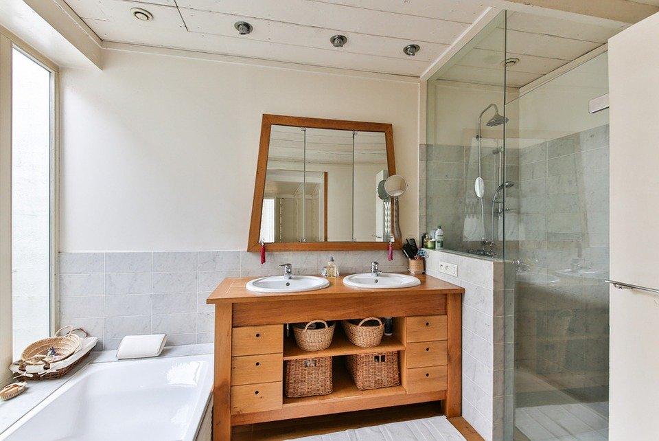 Koupelna, Dřevěného Nábytku, Sprcha, Moderní Vana