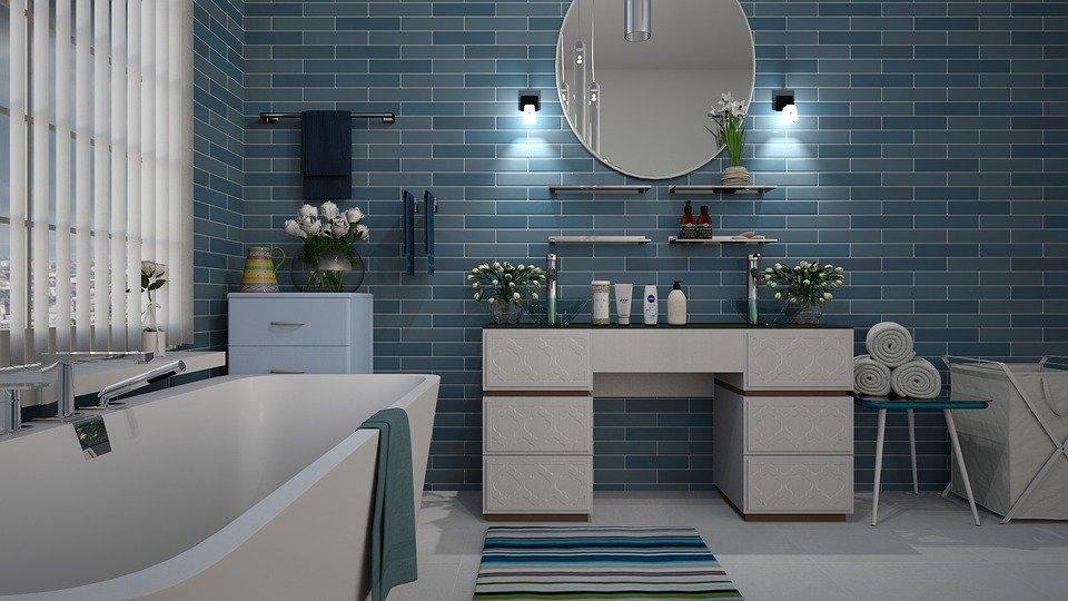 Koupelna, Modrá, Dlaždice, Design, Bílá, Hygiena, Vana